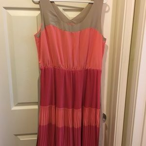 The Limited pink, coral and tan dress